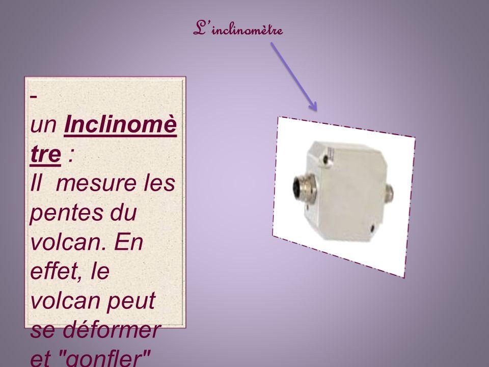 L'inclinomètre - un Inclinomètre : Il mesure les pentes du volcan.