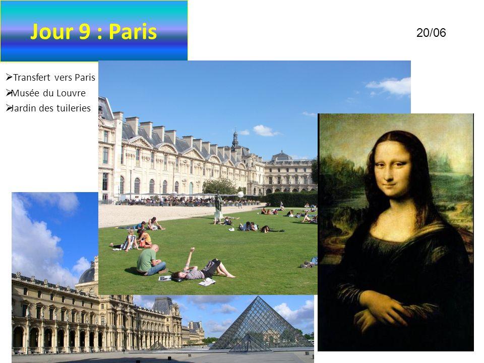 Jour 9 : Paris 20/06 Transfert vers Paris en autobus Musée du Louvre