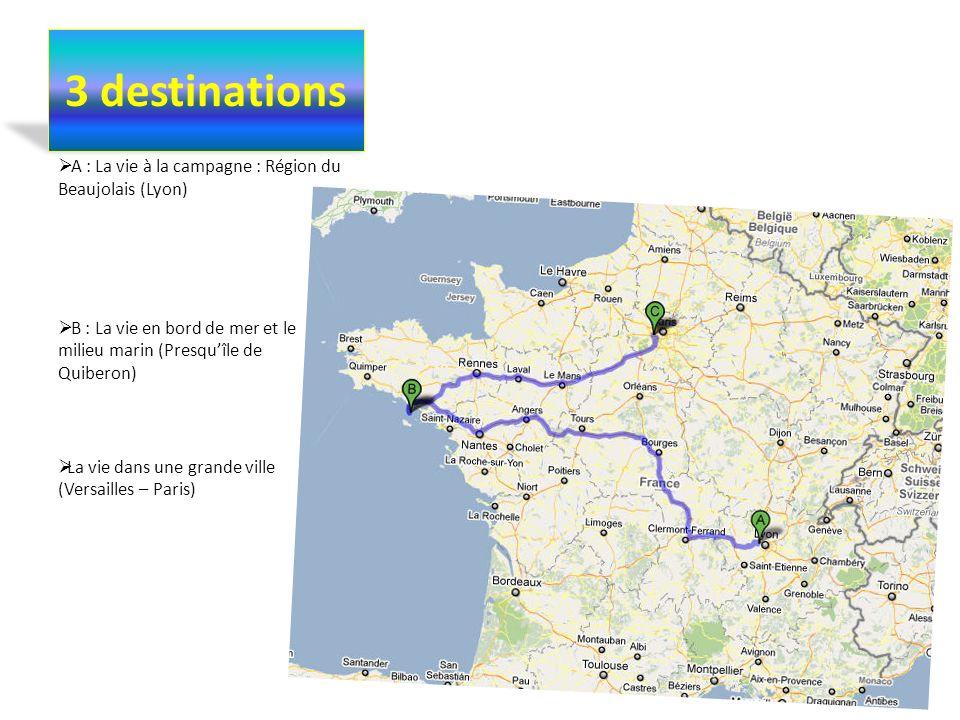 3 destinations A : La vie à la campagne : Région du Beaujolais (Lyon)
