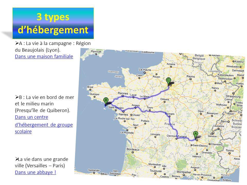 3 types d'hébergement A : La vie à la campagne : Région du Beaujolais (Lyon). Dans une maison familiale.