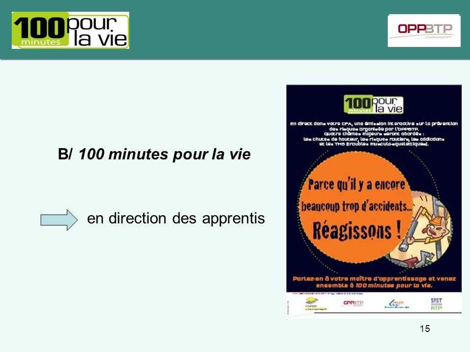 B/ 100 minutes pour la vie en direction des apprentis