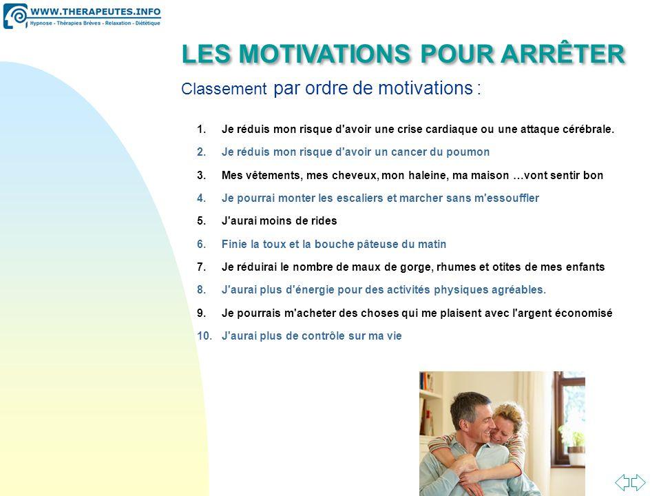 LES MOTIVATIONS POUR ARRÊTER