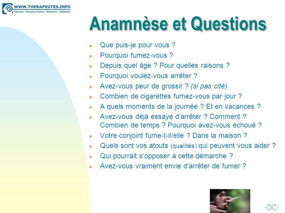 Anamnèse et Questions Que puis-je pour vous Pourquoi fumez-vous