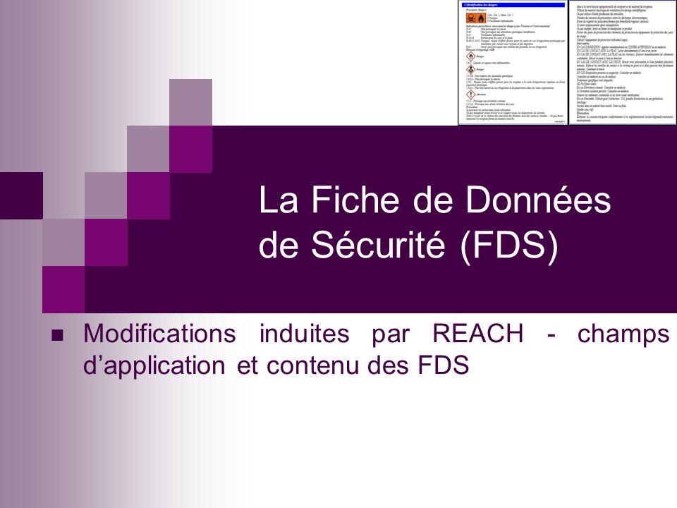 La Fiche de Données de Sécurité (FDS)