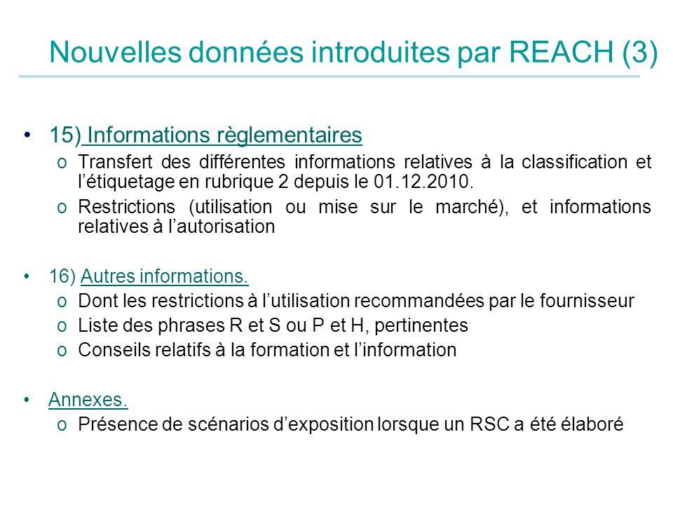 Nouvelles données introduites par REACH (3)