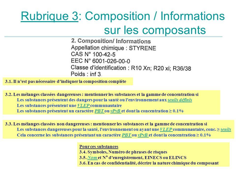 Rubrique 3: Composition / Informations sur les composants