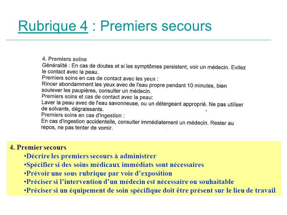 Rubrique 4 : Premiers secours