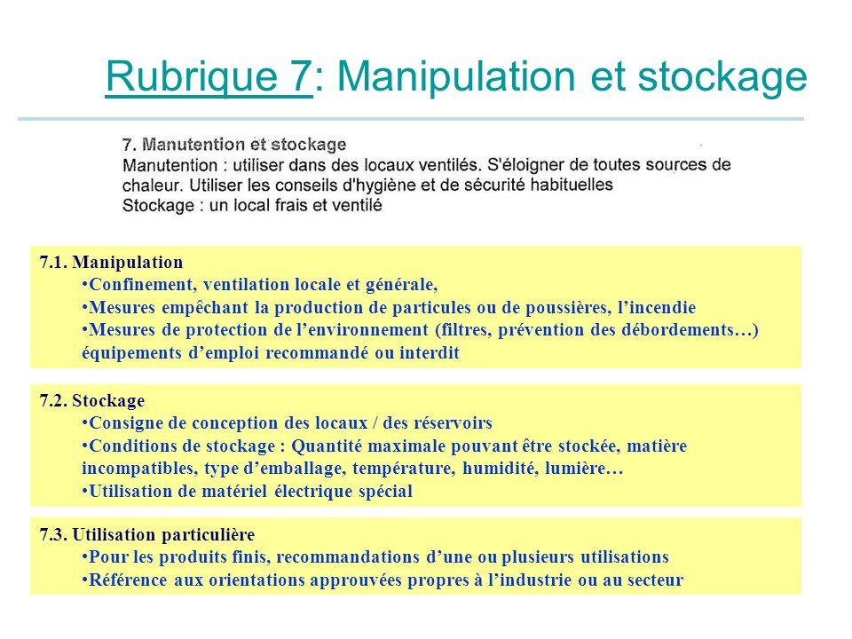 Rubrique 7: Manipulation et stockage