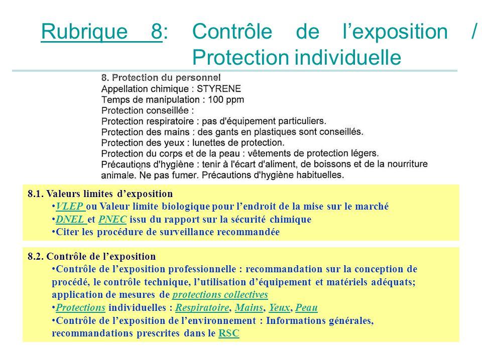 Rubrique 8: Contrôle de l'exposition / Protection individuelle