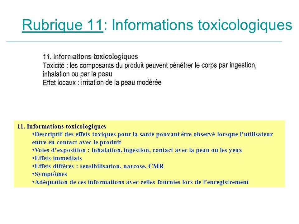 Rubrique 11: Informations toxicologiques