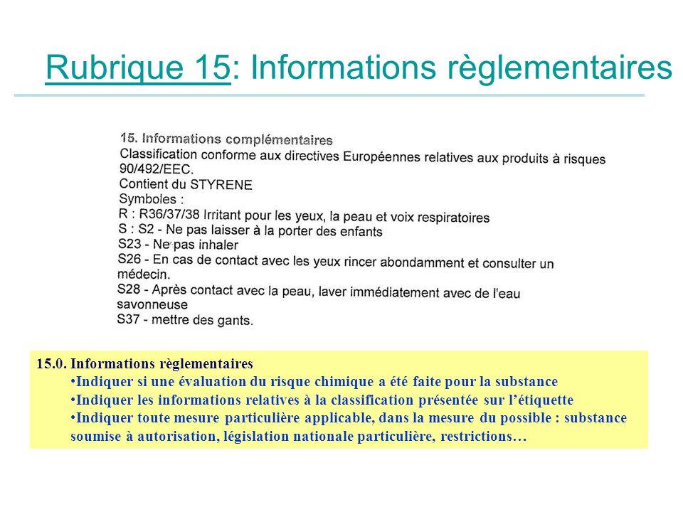 Rubrique 15: Informations règlementaires