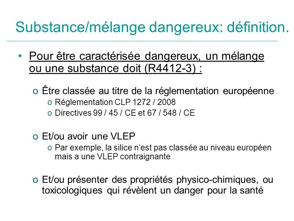 Substance/mélange dangereux: définition.