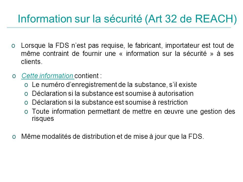 Information sur la sécurité (Art 32 de REACH)