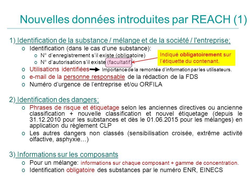 Nouvelles données introduites par REACH (1)