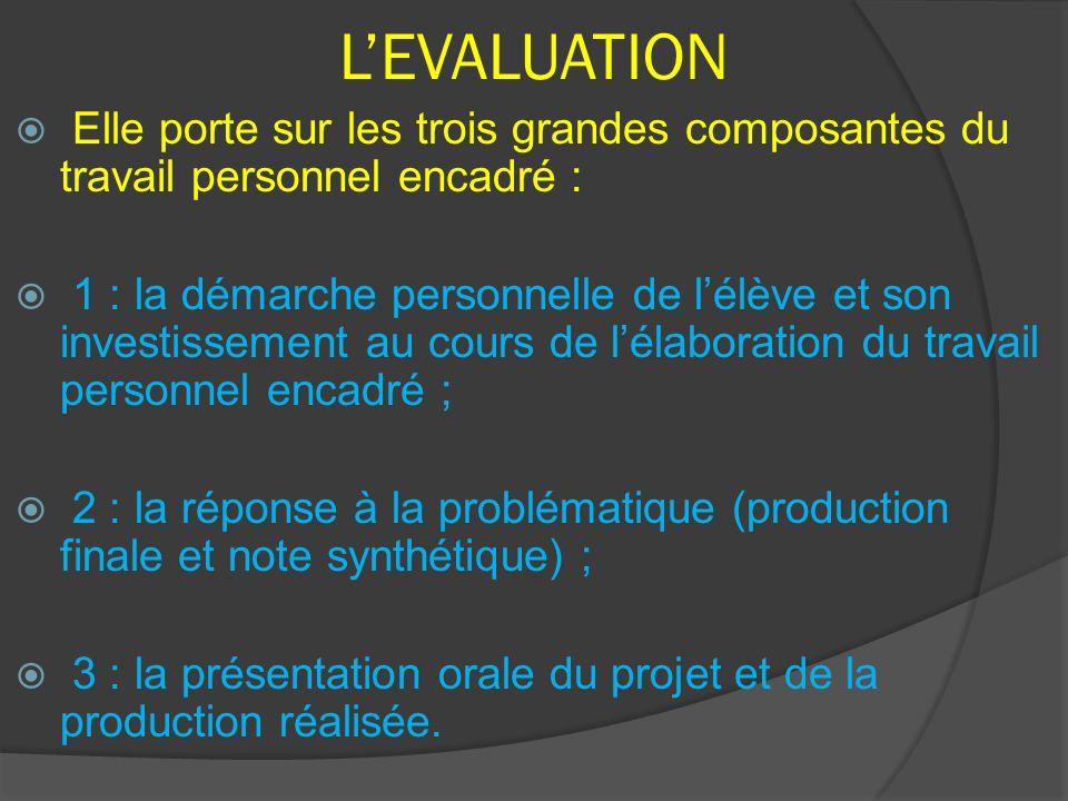 L'EVALUATION Elle porte sur les trois grandes composantes du travail personnel encadré :