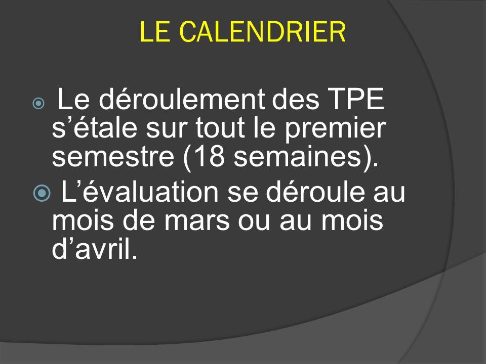LE CALENDRIER Le déroulement des TPE s'étale sur tout le premier semestre (18 semaines).