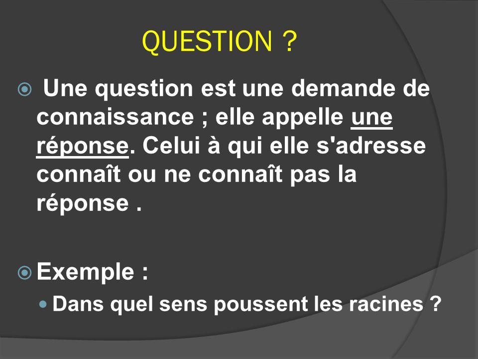 QUESTION Une question est une demande de connaissance ; elle appelle une réponse. Celui à qui elle s adresse connaît ou ne connaît pas la réponse .