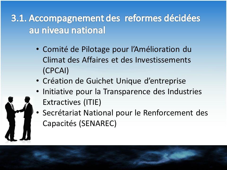 3.1. Accompagnement des reformes décidées au niveau national
