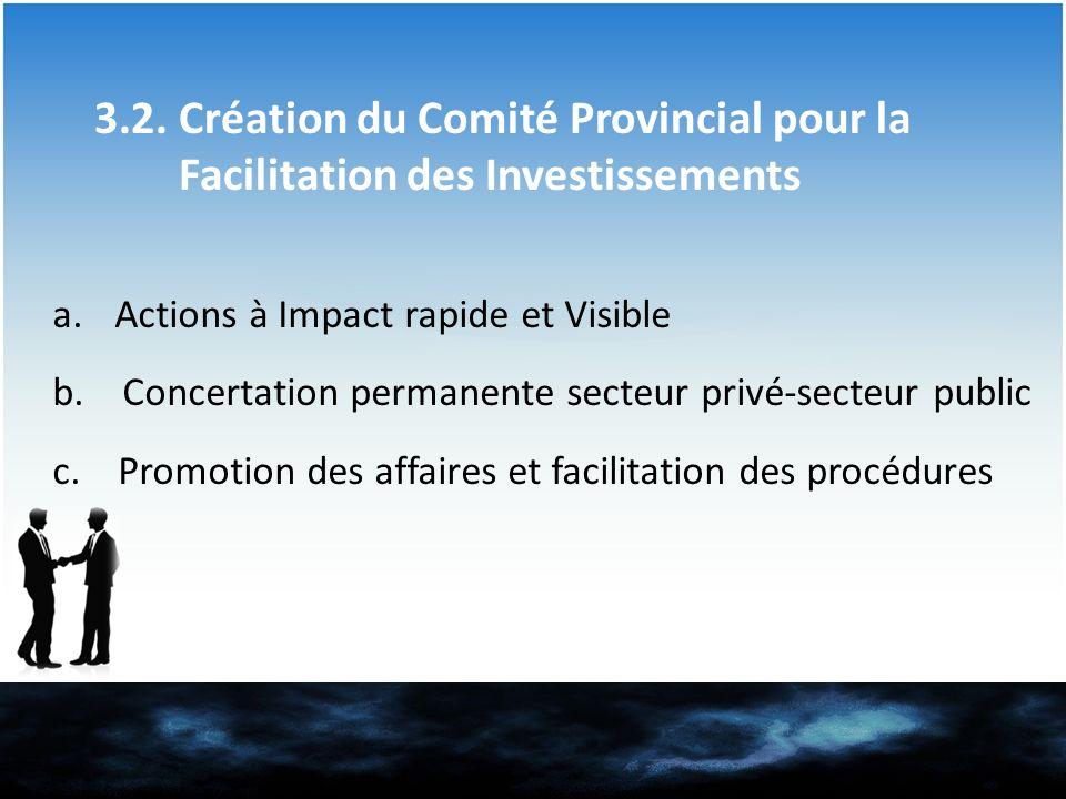 3.2. Création du Comité Provincial pour la Facilitation des Investissements
