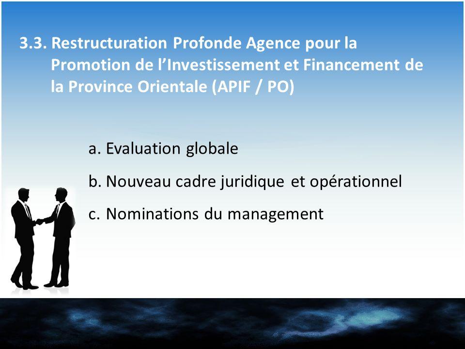3.3. Restructuration Profonde Agence pour la Promotion de l'Investissement et Financement de la Province Orientale (APIF / PO)