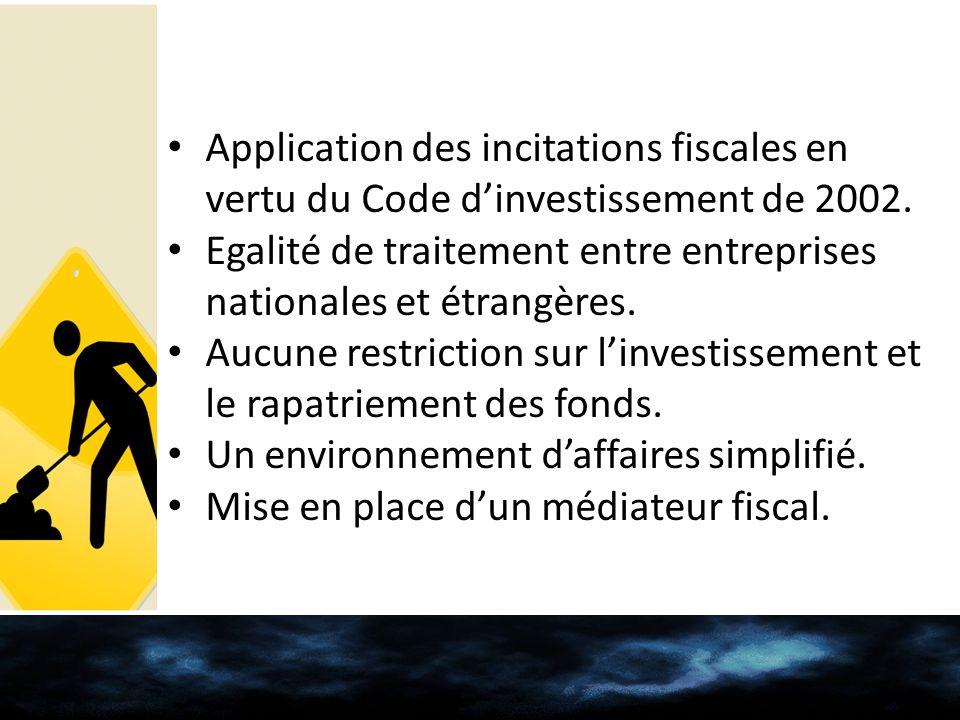 Application des incitations fiscales en vertu du Code d'investissement de 2002.