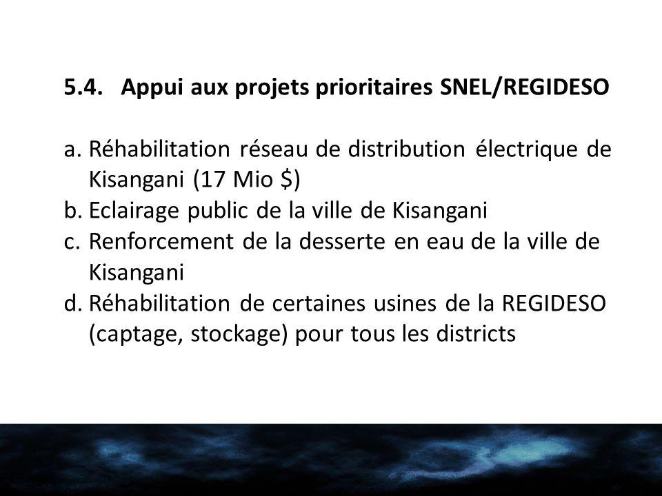 5.4. Appui aux projets prioritaires SNEL/REGIDESO