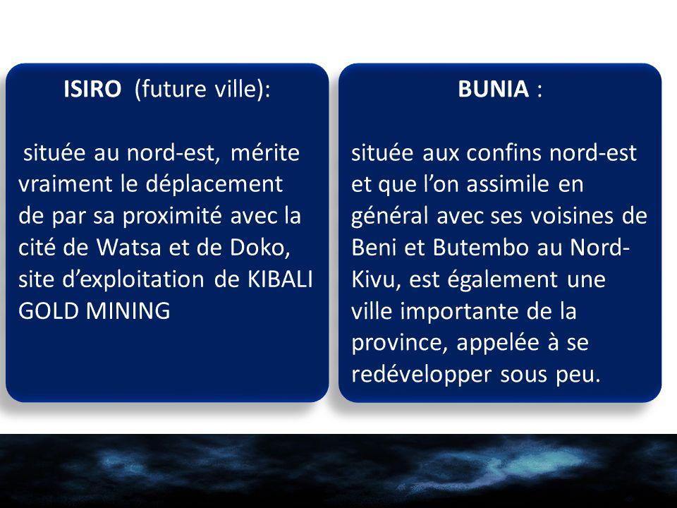 ISIRO (future ville): BUNIA :