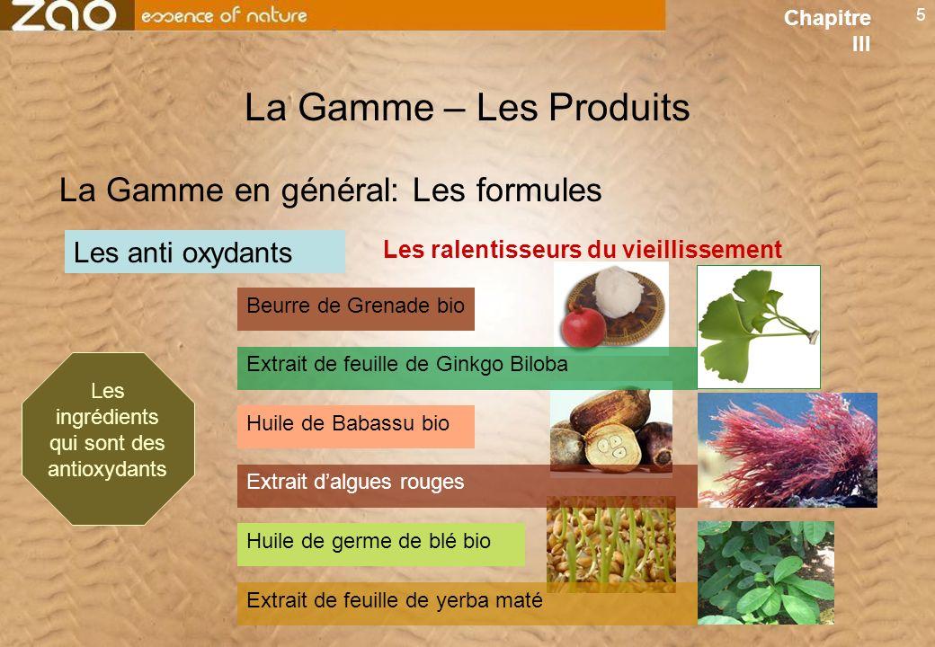 Les ingrédients qui sont des antioxydants