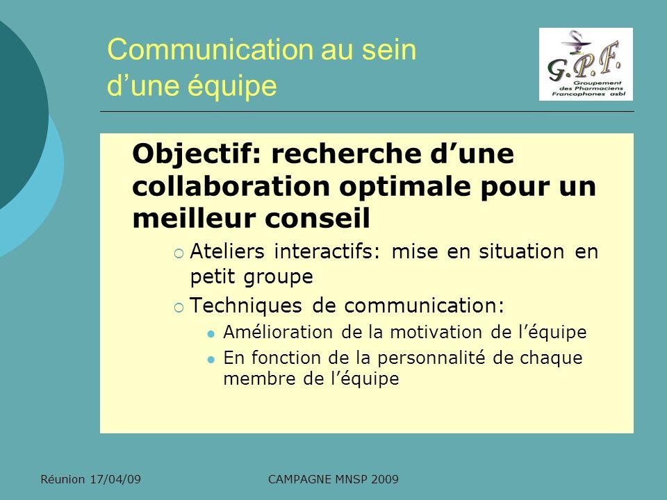 Communication au sein d'une équipe