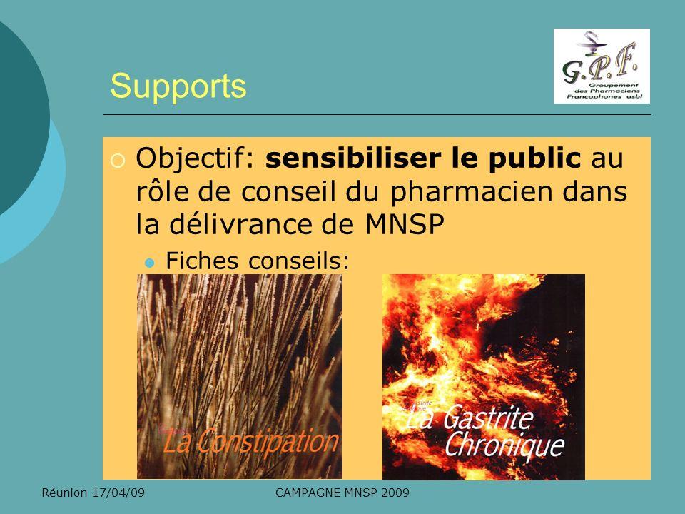 Supports Objectif: sensibiliser le public au rôle de conseil du pharmacien dans la délivrance de MNSP.