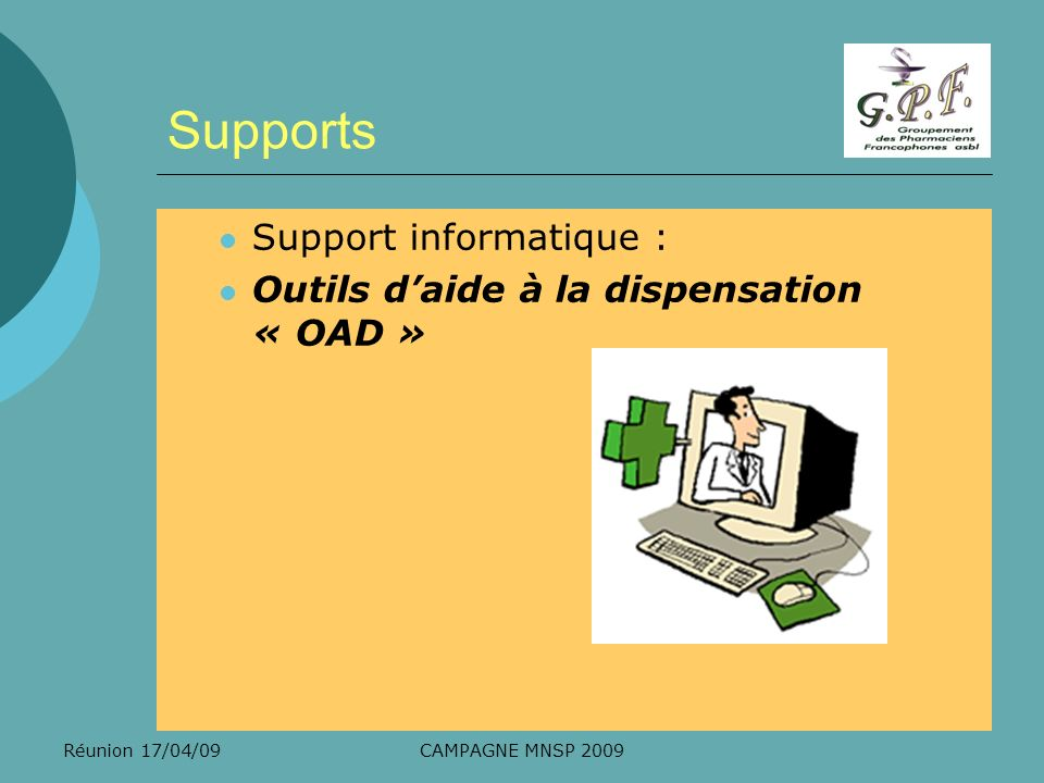 Supports Support informatique :