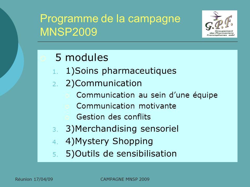 Programme de la campagne MNSP2009