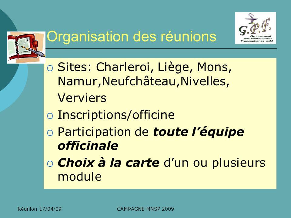 Organisation des réunions