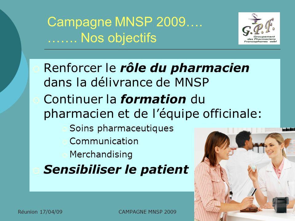 Campagne MNSP 2009…. ……. Nos objectifs