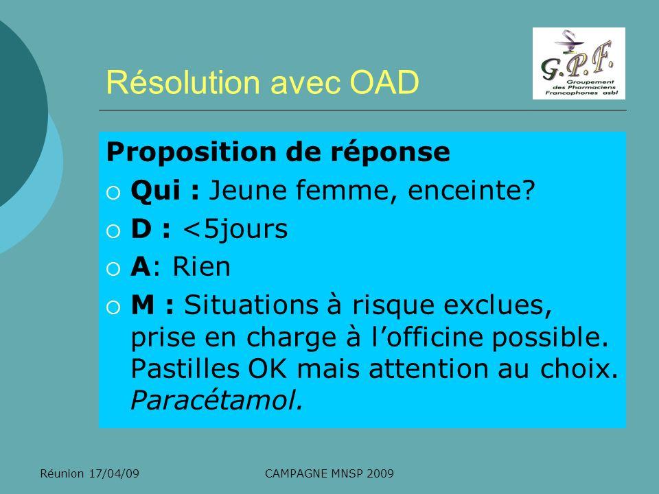 Résolution avec OAD Proposition de réponse