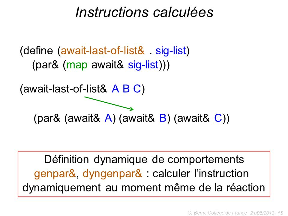 Instructions calculées