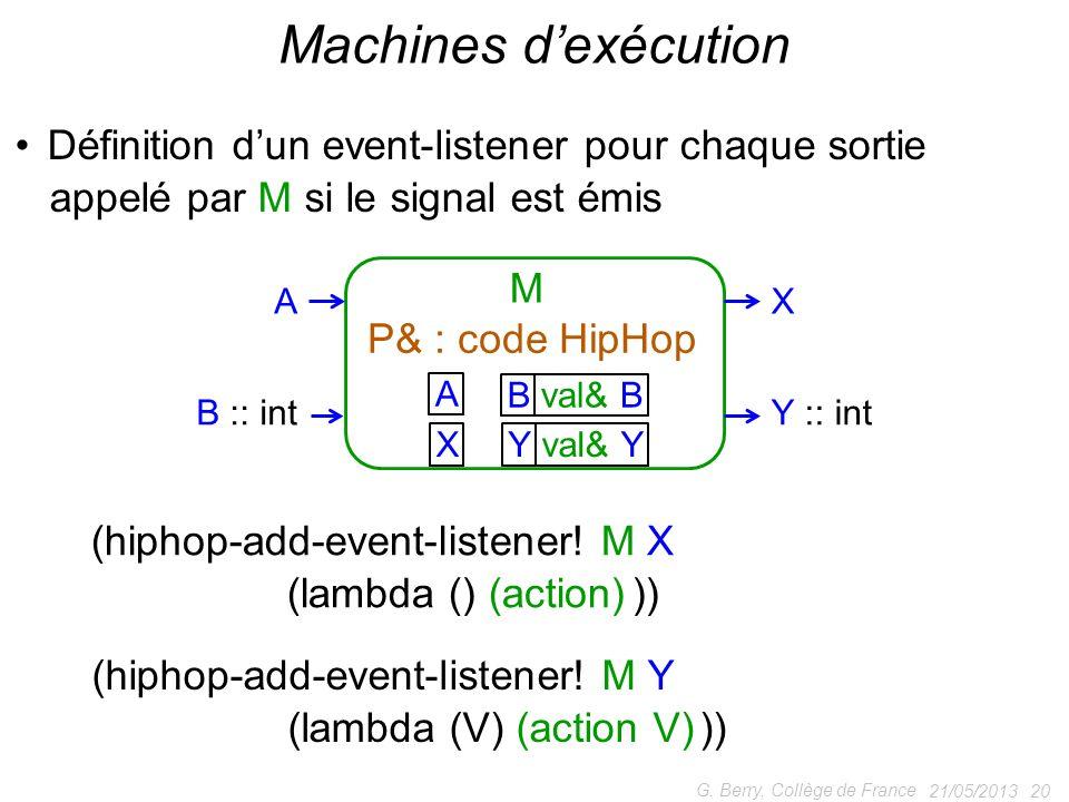 Machines d'exécution Définition d'un event-listener pour chaque sortie