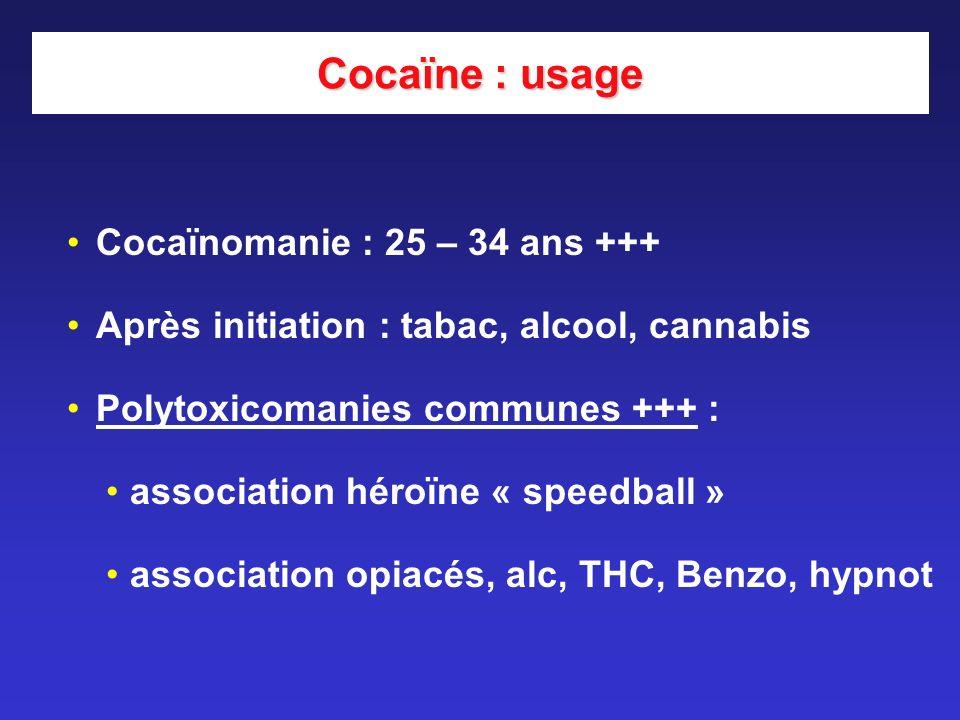 Cocaïne : usage Cocaïnomanie : 25 – 34 ans +++