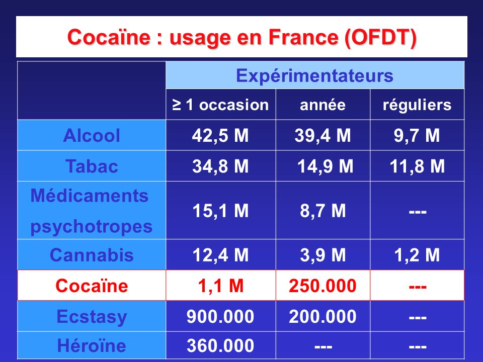Cocaïne : usage en France (OFDT)