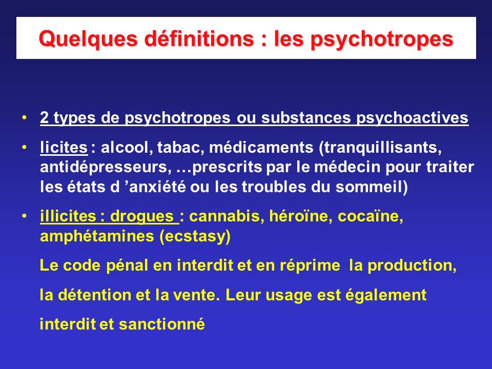 Quelques définitions : les psychotropes
