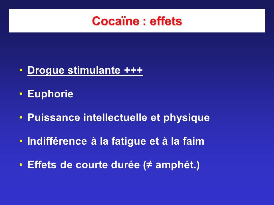 Cocaïne : effets Drogue stimulante +++ Euphorie
