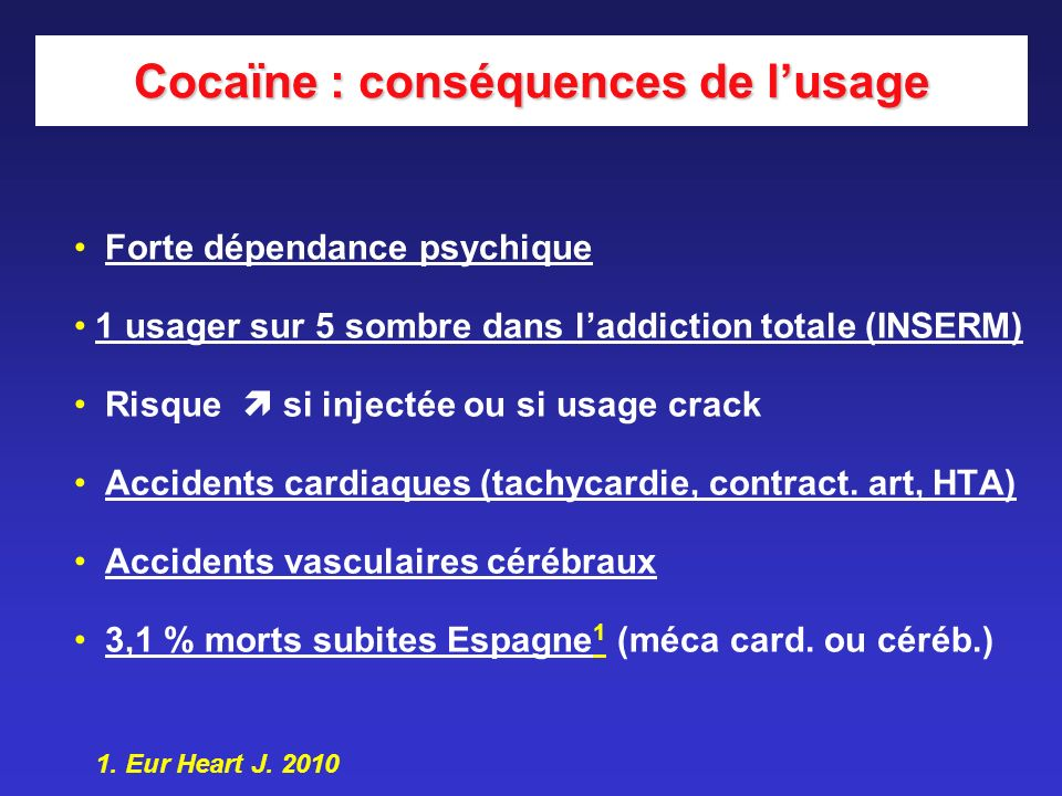 Cocaïne : conséquences de l'usage