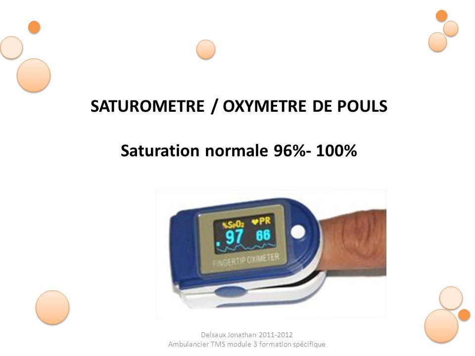 SATUROMETRE / OXYMETRE DE POULS Saturation normale 96%- 100%