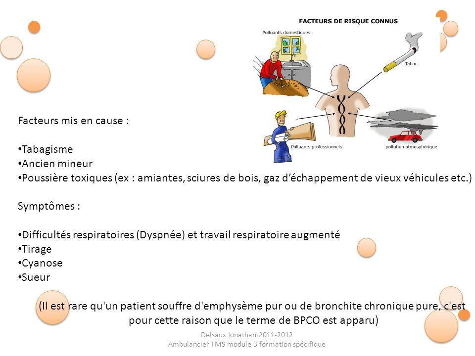 Difficultés respiratoires (Dyspnée) et travail respiratoire augmenté