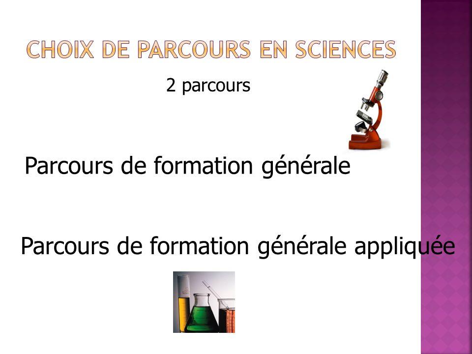 Choix de parcours en SCIENCES