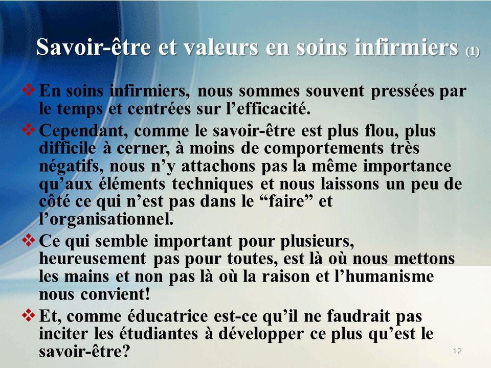 Savoir-être et valeurs en soins infirmiers (1)
