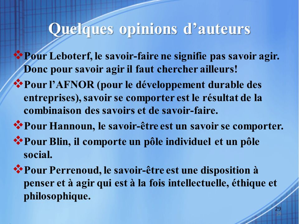 Quelques opinions d'auteurs