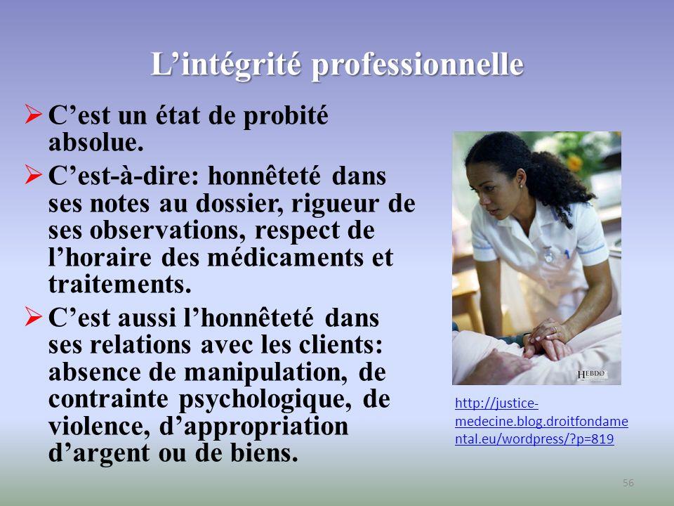 L'intégrité professionnelle