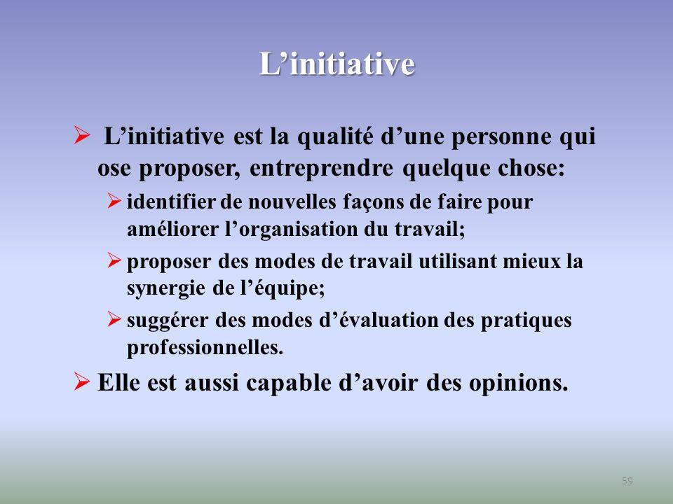 L'initiative L'initiative est la qualité d'une personne qui ose proposer, entreprendre quelque chose: