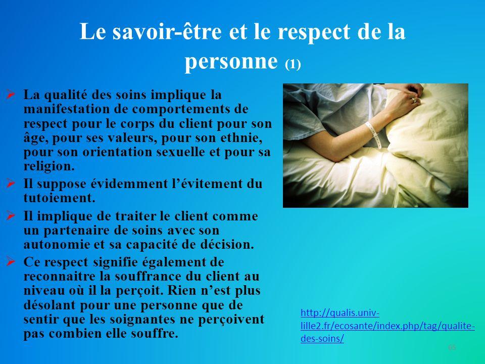 Le savoir-être et le respect de la personne (1)